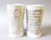 SPRING CLEARANCE SALE - Tall porcelain tumbler with translucent bottom