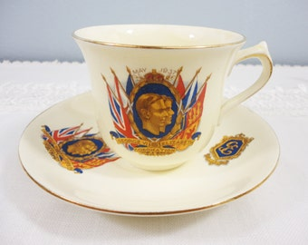 New Hall King George VI and Queen Elizabeth Coronation May 1937 Pottery Teacup and Saucer