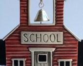 Vintage Designer School House Brooch Signed JJ - Red School House Brooch with Bell Designer Jewelry