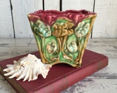Vintage Majolica Planter - Japan - Art Nouveau Flower Pot - Square