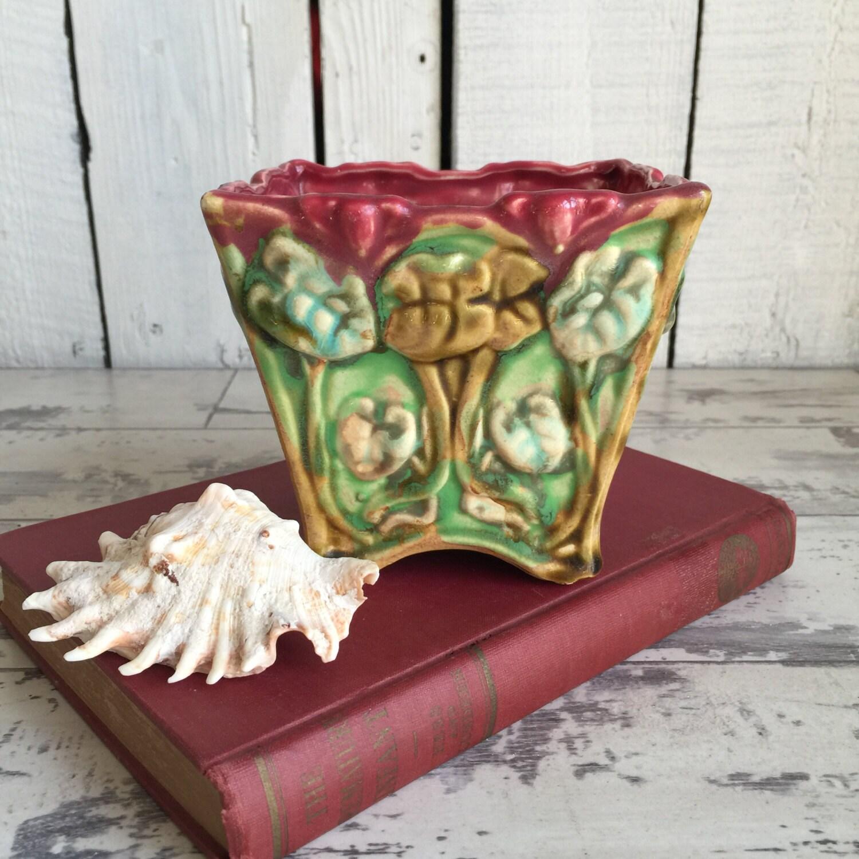 Vintage Majolica Planter Japan Art Nouveau Flower Pot