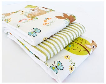 FOREST FRIENDS........ (3) very ABSORBENT 100% cotton baby burp cloths with coordinating fun cotton print......very useful gift