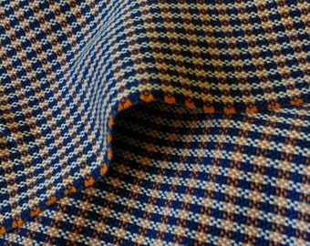 Navy and Vibrant Orange Wool Fabric