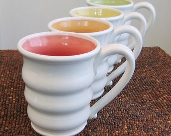 Beehive Mugs, Large Pottery Coffee Mugs in Summer Fruit Colors - Wedding Gift - Set of Four Stoneware Coffee Cups 14 oz.
