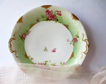 Vintage Limoges Pink Green Floral Plate Platter - French Romantic