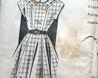 1950s Vintage Girls Skirt Dress Pattern With Uniquely Shaped Yoked Mail Order Pattern Size 8