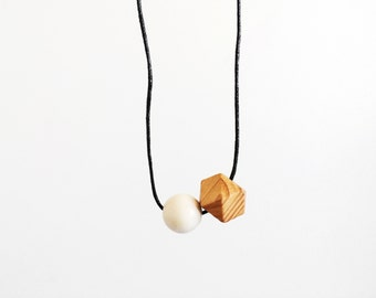 Round One - Minimalist Geometric Wood and Cord Necklace