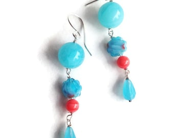 Turquoise and Coral Handmade Long Earrings