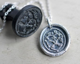 heart pendant - heart and arrows wax seal necklace - truth, kindness, charity - silver medieval family crest wax seal jewelry