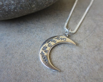 Love You to the Moon and Back Necklace, Silver Necklace, Crescent Moon, Moon Necklace, Irisjewelrydesign