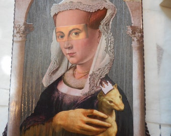 OOAK Collage Art, Original Art Work, Paper Collage on Wood Panel, Renaissance Lady with Pet, Super Quirky Kitschy Fun Art, Original Collage
