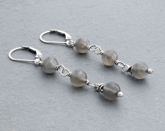 Gray Moonstone Dangle Earrings, Gray Gemstone Earrings, Gray Boho Dangle Earrings, Lever Back Ear Wires, Sterling Silver, #4690