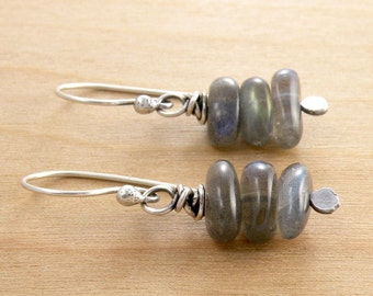 Labradorite Earrings, Gray Green Gemstone Jewelry, Stacked Beads, Sterling Silver, Wire Wrapped, #4566
