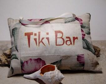 Tropical Door Knob Sign, Tiki Bar Sign, Tropical Fabric Pillow Sign, Bark Cloth Fabric, Tiki Decor, Tiki Bar Accessory