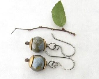 green and blue dangle earrings, kazuri and silver dangle earrings, rustic dangle earrings