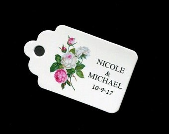 Personalized Wedding Favor Tags - Bridal Shower Tags - Gift Tags - Wedding Tags - Floral Tags - Pink - Personalized Tag - Small