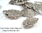 25 Leaf Charm Pendant Antique Silver LF/NF 15x8mm Double Sided - 25 pc - 5854-9