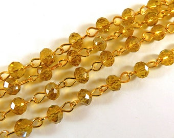 3ft Amber Beaded Chain Gold Plated Designer Chain Transparent Faceted Topaz Glass Rondelle Beaded Rosary 7x5mm - 39 inch - STR9088CH-AM39