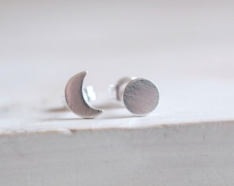 Moon Phase earrings. Sterling silver moon stud earrings. Moon studs, full moon, crescent moon, silver moon, silver studs, moon earrings.