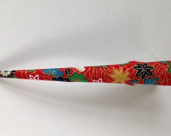 Large Hair Clip - Japanese Fabric Covered, Japanese Accessory, Flower, Red, Metal Concord Clip, Kimono Beak Clip, Hair Accessory, Handmade