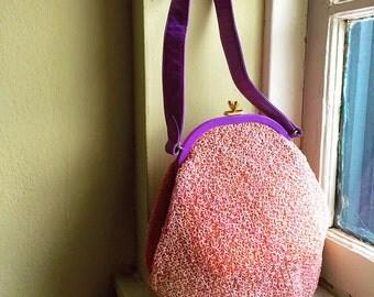 Vintage Purse Spring Summer Easter Purse Shoulder Bag Purple Basket 1960's