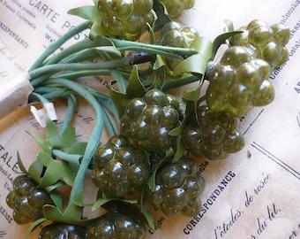 6 Vintage Millinery Green Glass Berries