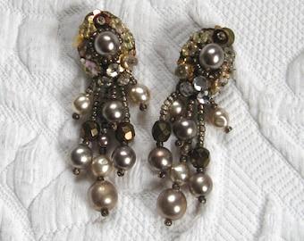 dangling earrings . Dangling pearl earrings .  pearl and sequin earrings  . 40s earrings . nougat pearl earrings