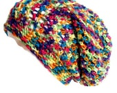 Slouchy Hat Crocheted Rainbow Hat Beanie Ready to Ship