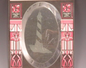 Stained Glass Supply - Wheel Engraved Oval Bevel - Cape Hatteras Light House