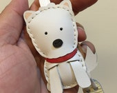 Small size - Amber the Westie cowhide leather charm ( White )