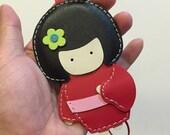 Big size - Sakura the Geisha Doll cowhide leather charm ( Blue )