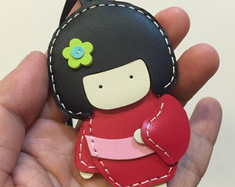 Small size - Sakura the Geisha Doll cowhide leather charm ( Red )