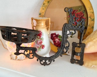 Late 1800's Victorian Cast Iron Wall Sconce, Oil Burning Lantern Swing Arm, Architectural Salvage, Swivel Ornate