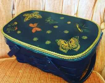 1960's Jule Designer Butterfly and Navy Basket Handbag