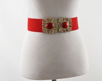 Vintage Belt Bright Red Wide Stretch with Double Goldtone Clasp