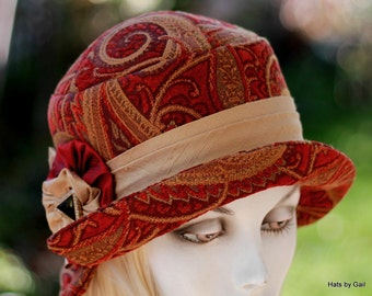 Womens Hats 20's Hat, Cloche Boho Paisley Red on Black Downton Abbey Flapper