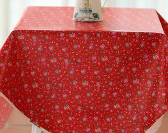 4119 - Cath Kidston Bramley Sprig (Red) Oilcloth Waterproof Fabric - 28 Inch (Width) x 17 Inch (Length)