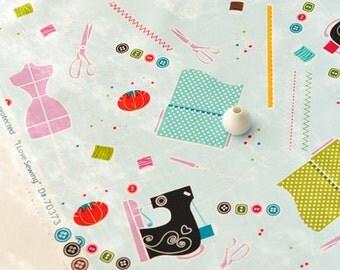 4185 - I Love Sewing Cotton Fabric - 43 Inch (Width) x 1/2 Yard (Length)