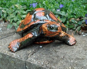 Ceramic garden turtle glazed with autumn steel