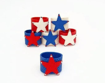 Star Napkin Rings,Independence Day Napkin Rings, 4th of July Decoration , Star Napkin Rings ,Set of six(6) Red ,White and Blue
