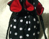 Anti Tarnish Black, White and Red Polka Dot Jewelry Pouch