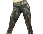 Camo Pants Camouflage Yoga Fitness Capri Fold Over Waistband/ High Waisted SXYfitness Sizes xxs-xxl (00-18) Item 1294 made in the USA