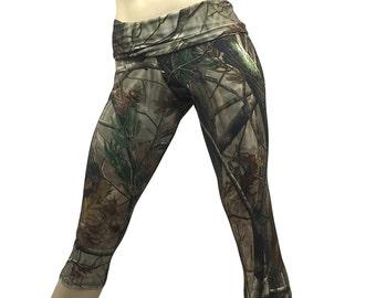 Camo Yoga Pants - Workout Clothes - Hot Yoga - Fitness - Camouflage - High Waist Pant - Fold Over - Capri - SXY Fitness - Handmade - USA -