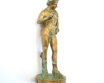 Rare. God for Sale. Miniature Apollo Figure for the Miniature Museum Garden, Dollhouse Miniature, Custom Painted, Verdigris, Rare, OOAK