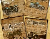 Instant Download -  Old Days Coaster Images  -  Collage Sheet - Printable Download - Gift Tags - Scrapbook
