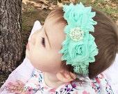 SALE Mint Baby Headband..Newborn Lace Girl Headband..Vintage Inspired Double Frayed Aqua Lace Flower Headband..Headband....Baby Headbands