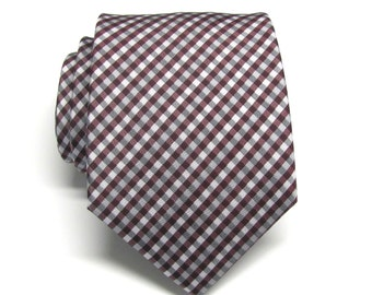 Mens Ties. Necktie Burgundy Gray Ivory Checkers Mens Neckties