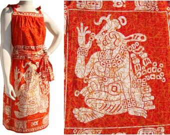 Vintage Mayan Glyph Dress Summer Shift Mexican Cotton Diseños Escalera NOS – M / L