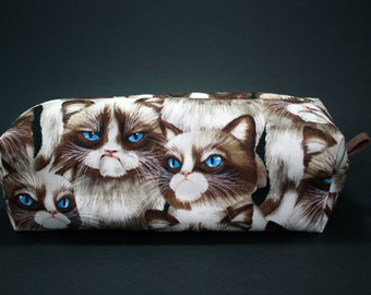 Boxy Makeup Bag - Grumpy Cat Zipper - Pencil Pouch