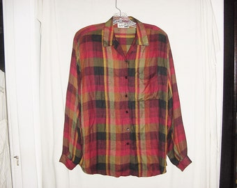 Vintage 80s Rayon Plaid Ladies Long Sleeve Shirt M Flannel Finish